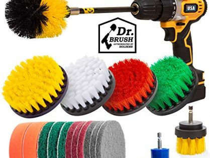 Holikme 19Piece Drill Brush Attachments Set,Scrub Pads & Sponge, Power Scrubber Brush with Extend Long Attachment All purpose Clean for Grout, Tiles, Sinks, Bathtub, Bathroom, Kitchen