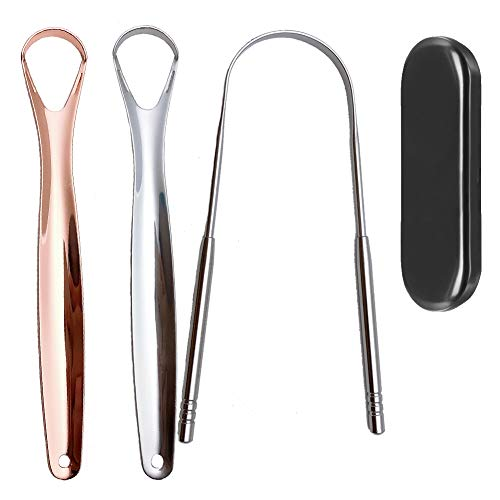 Tongue Scraper, Tongue Cleaner, Tounge Scraper Cleaner,Tongue scrapers for adults with Carrying case, Fresh Breath Tongue Scrapers Medical Grade Metal 3 pack