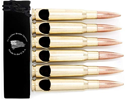 Set of 6 - 50 Caliber BMG Real Bullet Bottle Opener - Made in the USA