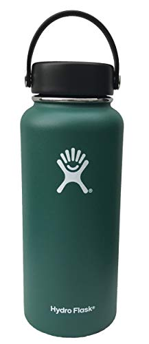 Stainless Steel & Vacuum Insulated - Hydro Flask 32 oz Water Bottle - D Green - Wide Mouth with Leak Proof Flex Cap