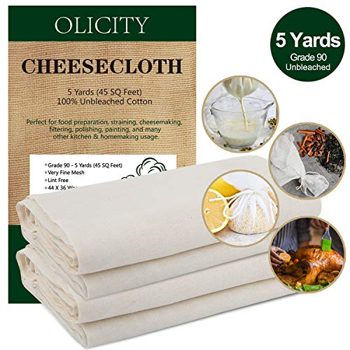 Olicity Cheesecloth, Grade 90, 45 Square Feet, 100% Unbleached Cotton Fabric Ultra Fine Cheesecloth for Cooking, Strainer, Baking, Hallowmas Decorations 5 Yards