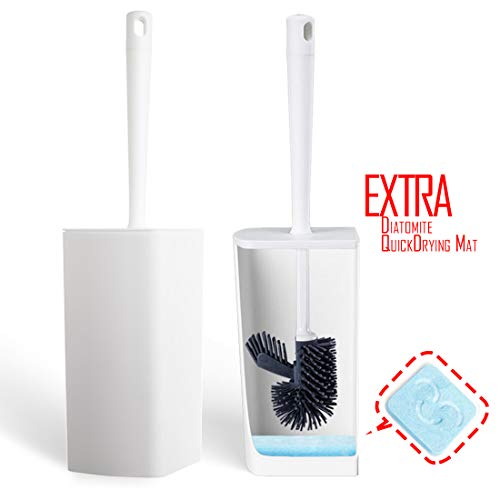Toilet Brush, Kimitech Toilet Brush and Holder, White Toilet Brush Cleaner Set