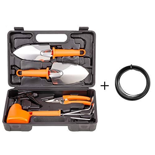 xderlin Garden Tools Set, Gardening Gifts Stainless Stee Garden Tool Set with Storage case -Garden Gifts for Men & Women 6 Pieces-Orange