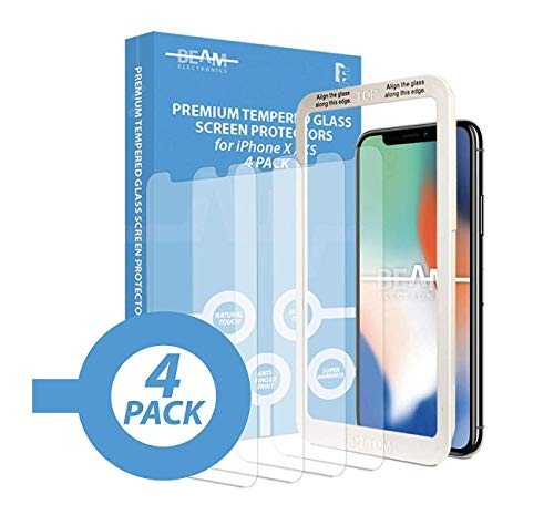 Beam Electronics Screen Protector for iPhone X,XS,11 Pro 4 Pack Tempered Glass Screen Protector with Advanced Clarity 3D Touch Works w/Most Cases 99% Touch Accurate-1 Protector w/ 3 Replacements