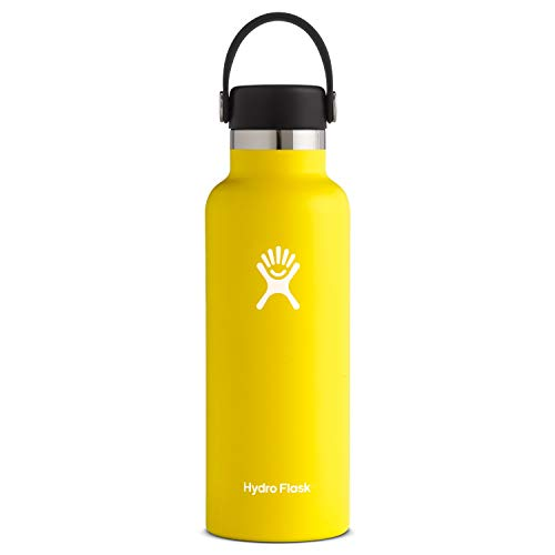 Hydro Flask Standard Mouth Water Bottle, Flex Cap - 18 oz, Lemon