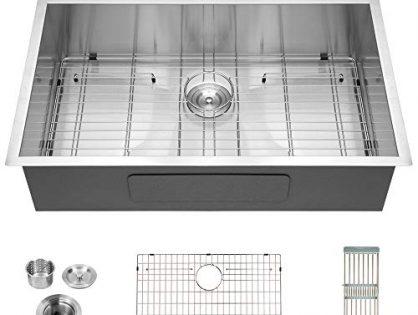 "Logmey Luxury 33""x22"" Drop-in Topmount 18 Gauge Stainless Steel Kitchen Sink Single Bowl"