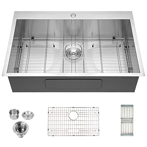 "Logmey Luxury 33""x22"" Drop-in Topmount 18 Gauge Stainless Steel Kitchen Sink Single Bowl"