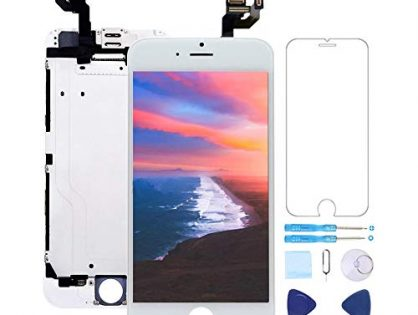 """Screen Replacement for iPhone 6 Plus Screen Replacement White 5.5"""" LCD Display Touch Digitizer Frame Assembly with Proximity Sensor,Ear Speaker,Front Camera,Screen Protector,Repair Tools kit White"""