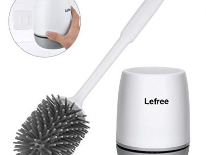 Lefree Silicone Toilet Brush and Holder with TPR Soft Bristle, Non-Slip Handle Bathroom Toilet Bowl Cleaner Brush SetWhite-Grey