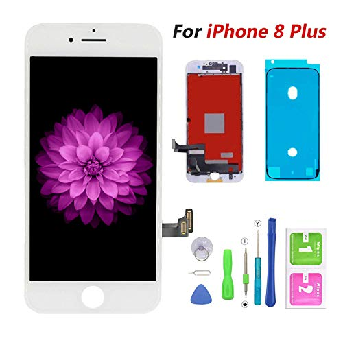 Compatible with iPhone 8 Plus Screen Replacement White,FFtopu LCD Display & Touch Screen Digitizer Frame Assembly Set with 3D Touch Free Repair Tool(5.5''