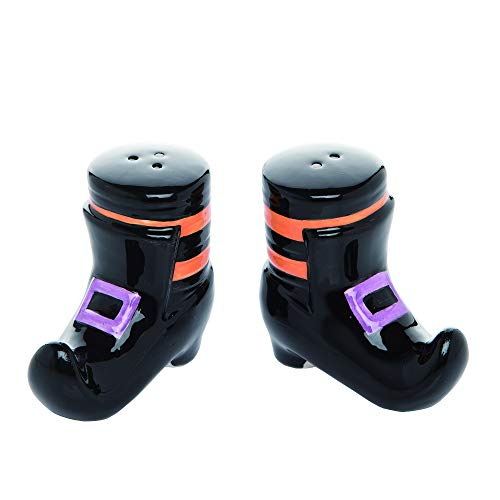 Witch Shoe Black 3 x 3 Dolomite Ceramic Halloween Salt and Pepper Shaker Set