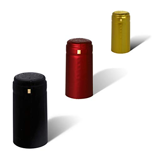 PVC heat shrink capsules - 100 count I Variety mix: 40 matte black, 40 burgundy red, 20 classic gold color I Suitable for professional and home use