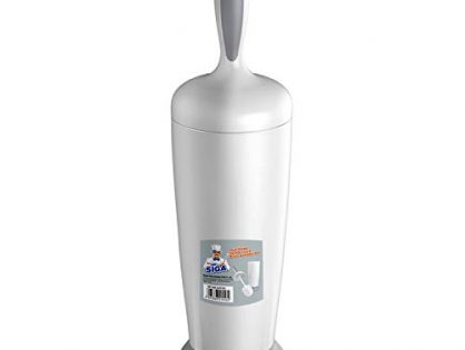 MR.SIGA Toilet Bowl Brush and Holder for Bathroom, White/Gray