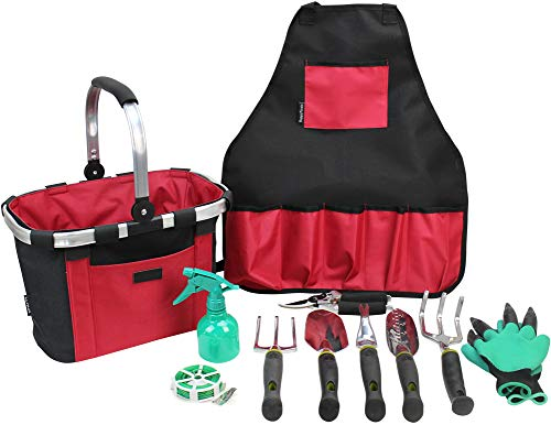 INNO STAGE Garden Hand Tools Set with Gardening Apron and Foldable Basket Bag - Great Kit Gifts for Mother