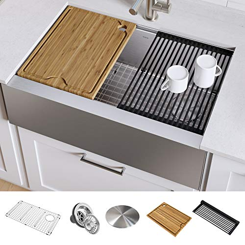 KRAUS KWF410-33 Kore Workstation 33-inch Farmhouse Flat Apron Front 16 Gauge Single Bowl Stainless Steel Kitchen Sink with Integrated Ledge and Accessories Pack of 5