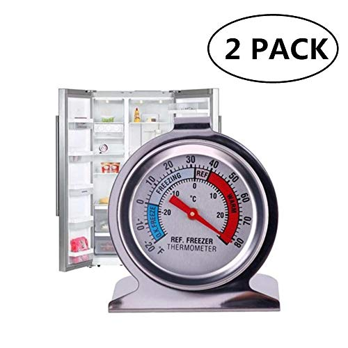 JSDOIN Freezer Refrigerator Refrigerator Thermometers Large Dial Thermometer 2 Pack 2 PACK