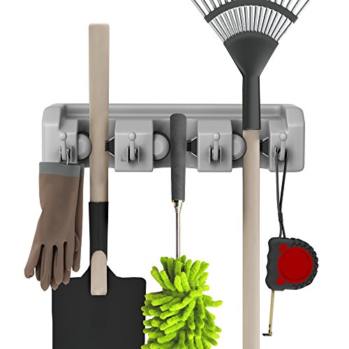 Shovel, Rake and Tool Holder with Hooks- Wall Mounted Organizer for Garage or Shed-Hang Home and Garden Tools-Space Saving Racks by Stalwart 2 Pack