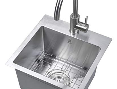 Starstar 15 x 15 inch Drop-in Topmount 304 Stainless Steel Single Bowl Bar/Kitchen/Laundry/Yard/Office Sink With Grid