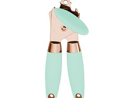COOK with COLOR Deluxe Manual Rose Gold Quality Stainless Steel Can Opener With Durable Mint Green Anti Slip Handles and Large Knob with Built In Bottle Cap Opener