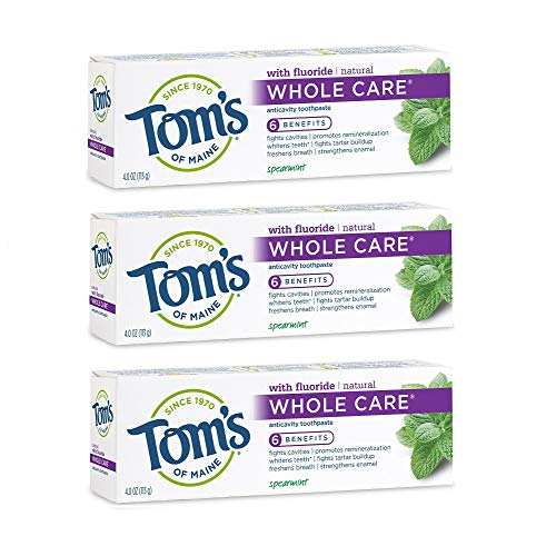 Tom's Of Maine Whole Care Anticavity Toothpaste, Spearmint, 4.0 Ounce Pack of 3