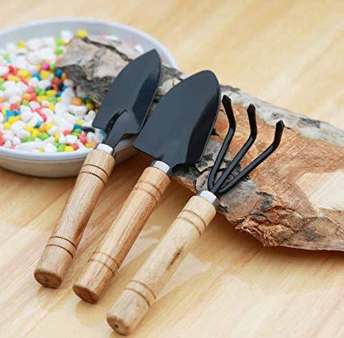MALARNEY 3 Piece Gardening Tool Set Mini Wood Handle Shovel Trowel Gardening Tools for Flowers Succulent Tranplanting