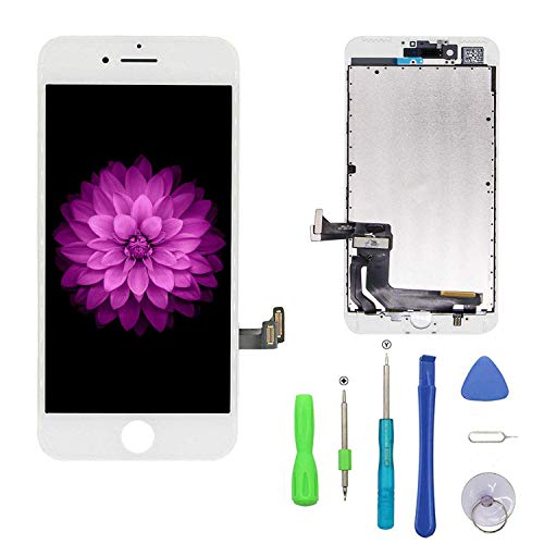 Compatible with iPhone 7 Plus Screen Replacement White, LCD Display & Touch Screen Digitizer Frame Assembly Set with 3D Touch Free Repair Tools