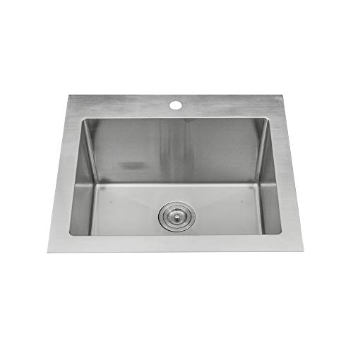 """KABCO Stainless Steel Utility Laundry Sink Top Mount or Undermount Single Bowl 25 inch wide 12 inch deep 25"""" X 22"""" X 12"""" Package"""
