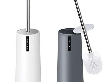 Kelamayi Toilet Brush and Holder-2 Pack, Simple Solid Color Toliet Brush Holder with Upgraded Length Stainless Steel Toilet Brush Handle, Suitable for The Modern Home Décor-Gray & White