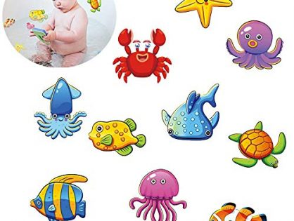 Lemimo Non-Slip Bathtub Stickers Pack of 10 Large Sea Creature Decal Treads. Best Adhesive Safety Anti-Slip Appliques for Bath Tub and Shower Surfaces
