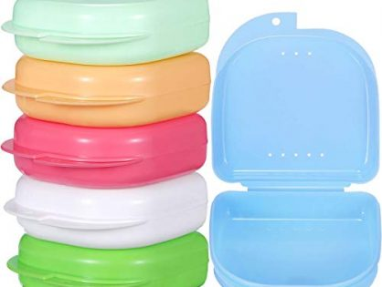 Gejoy 6 Pieces Retainer Case Mouth Guard Case Orthodontic Denture Storage Container Multicolor 1