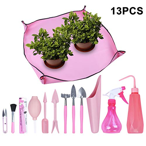 Homend Garden Kneelers Gardening Transplanting Pot Pad Mini Garden Hand Transplanting Succulent Tools for Indoor Garden Plant Care Work Cloth Anti Dirty 12 PCS/Set,Pink