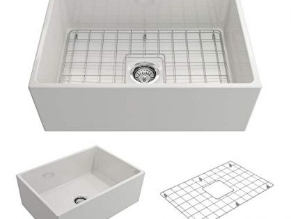 BOCCHI 1356-001-0120 Contempo Apron Front Fireclay 27 in. Single Bowl Kitchen Sink with Protective Bottom Grid and Strainer in White