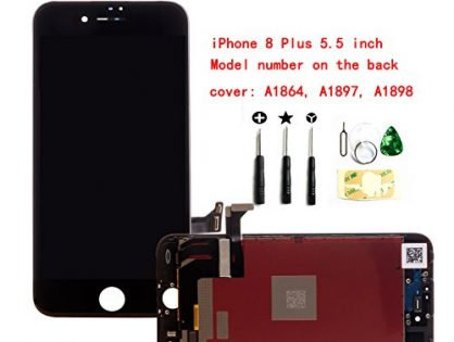 PassionTR Black For iPhone 8 Plus 5.5 Inch LCD Screen Replacement Full Digitizer Assembly Frame Set Front Glass 3D Touch Display with Required Tool Kit