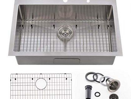 "Bokaiya 30"" Topmount Kitchen Sink 16 Gauge Stainless Steel Handmade Deep Single Bowl Drop In Sink, 9-Ga Extra Thick Panel 2 Hole Kitchen Sink"