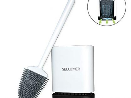 Sellemer Toilet Brush and Holder Set, Toilet Bowl Brush Carrying Solid Anti-Rust Handle, Upgraded Flat Design, Good Toughness, Brush Head Can Be Bent Freel, Easy to Clean and Clean Without Dead Ends