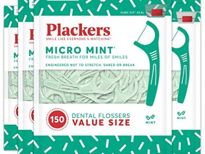 Plackers Micro Mint Dental Floss Picks, 150 Count, Pack of 4