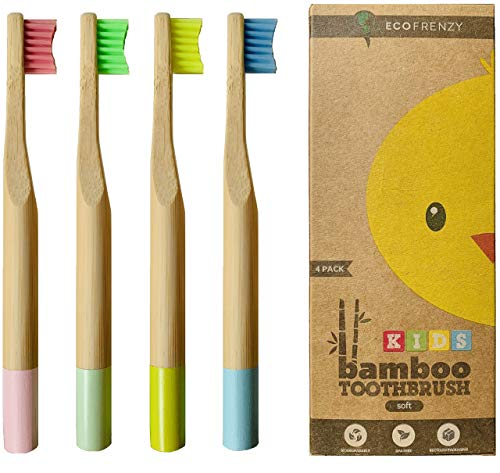 Kids Bamboo Toothbrush - Child size Soft BPA Free Color Safe Bristles 4 pack - EcoFrenzy