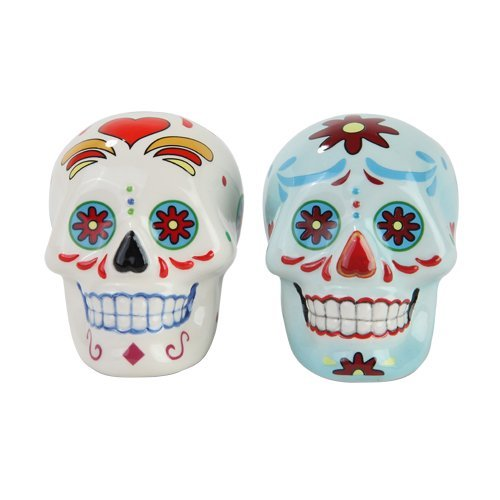 Day of the Dead White and Blue Sugar Skull Design Salt and Pepper Shakers Set