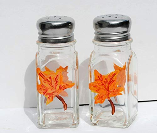 Autumn Orange Maple Leaf Fall Glass Salt and Pepper Shakers Set