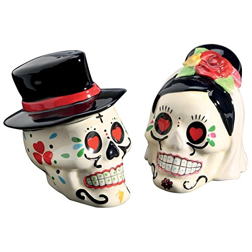 Day of the Dead Bride and Groom Skulls Ceramic Salt and Pepper Shakers