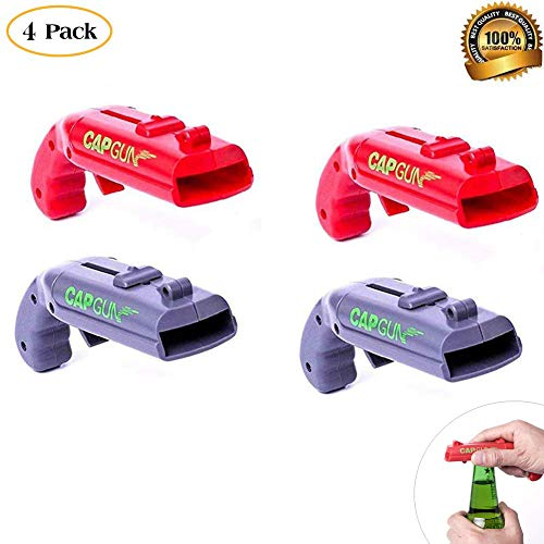 4 Pack Bottle Opener Creative Bottle Opener Cap Gun Plastic Beer Bottle Opener Cap Launcher Shooter for Home Bar Party Drinking Game Red and Grey