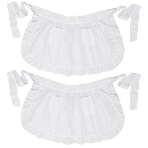LilMents Twin Pack Retro Kitchen Ruffles Waist Apron with Pockets White