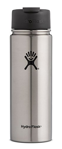 Hydro Flask 20 oz Travel Coffee Flask | Stainless Steel & Vacuum Insulated | Wide Mouth with Hydro Flip Cap | Stainless