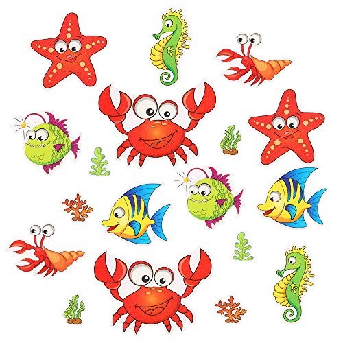 Pack of 18,Non Slip Bathtub Stickers,Adhesive Decals with Bright Colors,Ideal Large Appliques for Your Family's Safety,Suit for Bath Tub,Stairs,Shower Room & Other Slippery Surfaces.Shrimp and Crab