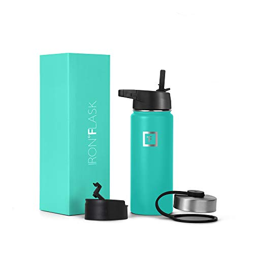 Iron Flask Sports Water Bottle - 18 Oz, 3 Lids Straw Lid, Vacuum Insulated Stainless Steel, Hot Cold, Modern Double Walled, Simple Thermo Mug, Hydro Metal Canteen Aquamarine