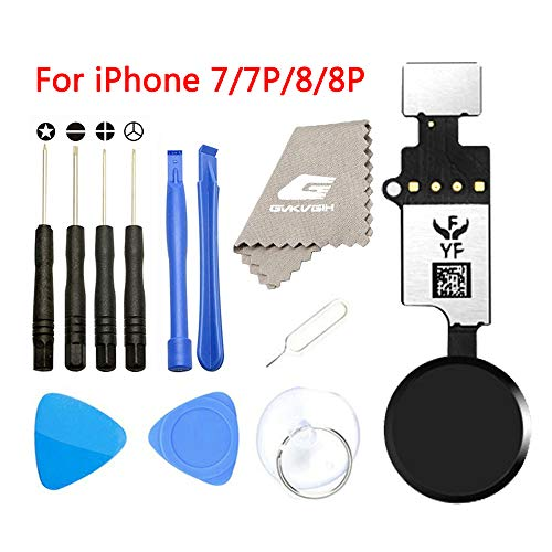 Latest Home Button Replacement for iPhone 7 7Plus 8 8Plus,GVKVGIH Home Button Touch ID Main Key Flex Cable Assembly Replacement with Repair Tools for iPhone 7 7P 8 8P Version4.0 Black