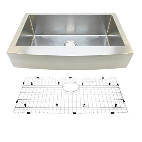 """Auric Sinks 33"""" Retrofit Farmhouse Sink, Curved Front, Single Bowl, 6"""" Short Apron, Premium 16 Gauge Commercial Grade Stainless Steel, 6:SCAR-16-33-retro SGL"""