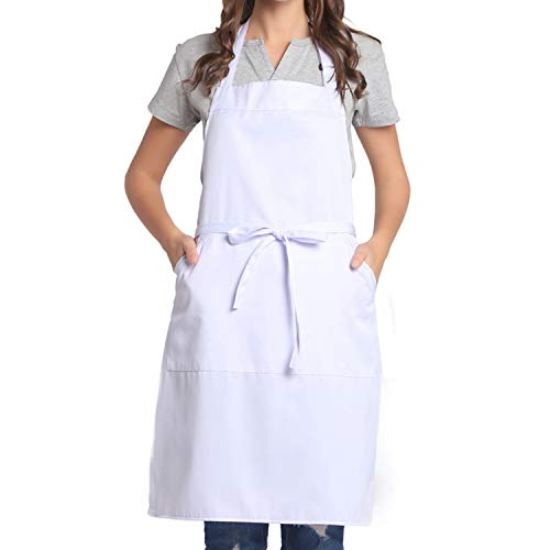 BIGHAS Adjustable Bib Apron with Pocket Extra Long Ties for Women Men, 13 Colors, Chef, Kitchen, Home, Restaurant, Cafe, Cooking, Baking, Gardening White