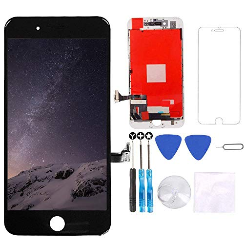 """Screen Replacement for iPhone 8 Plus Black 5.5"""" LCD Display Touch Digitizer Frame Assembly Full Repair Kit, with Screen Protector, Repair Tools"""