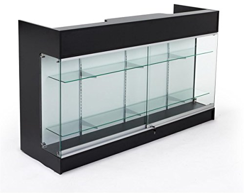Displays2go Sales Counter with Glass Shelves, Tempered Glass, Laminated Particle Board, Locking Drawers - Black MRCLSC72BK